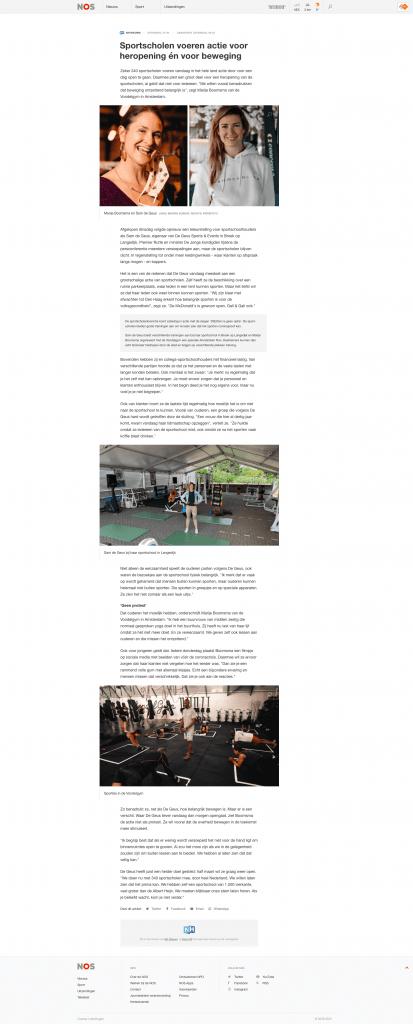 Sportscholen-voeren-actie-NOS-De-Geus-Sport-Langedijk-in-het-nieuws